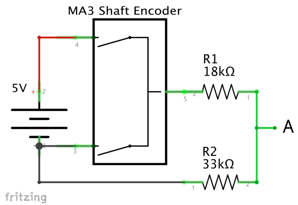 5V to encoder to 3.3V Schematic